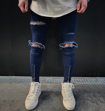 2017 Hot Sale Brand Knee hole Ripped Men's Skinny jeans Fashion Hip Hop Bottom Zipper Stretch Denim Pants biker motorcycle jeans