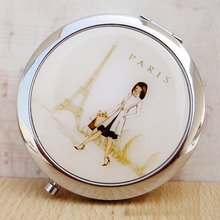 CN-RUBR Creative Metal Pocket Mirror Makeup Fold Round Crystal Compact Mirror Portable Cute Metal For Personalized Wedding Gifts