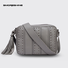 SMORESHINE Soft leather women's small bag Ladies Fashion hollow rivet design shoulder bags women tassel pendant Crossbody bag(China)