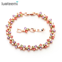 LUOTEEMI  New Design Rose Gold Color Women Chain Link Bracelet  Lucky Flower Wedding Jewelry Multicolor CZ Stones Wholesale