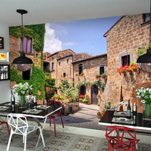 Free Shipping European town style murals and leisure village tea shop alley 3D wallpaper living room TV background wallpaper