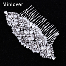 Minlover Synthetic Imitated Pearl  Bridal Combs for Women With Flower Crystal Hair Decoration for Wedding Prom FS071