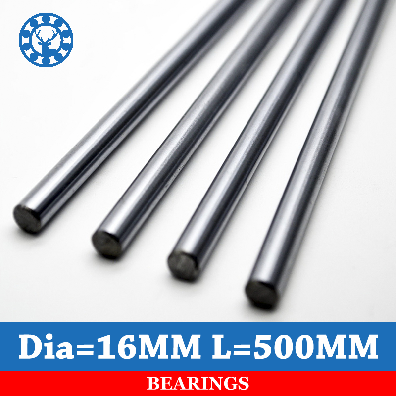 2pcs Linear Shaft 16mm Length 500mm Chrome Plated WCS Round Steel Rod Bar Cylinder Linear Rail<br>