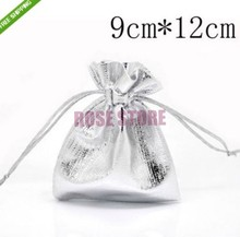 Wholesale 50pcs/lot Silver Plated Drawable Satin Gift Bag 9x12cm Small Jewelry Gift Boutique Packaging Bag For Wedding Christmas