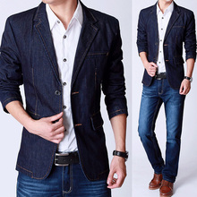 Autumn New Style Men's Slim Fit Blue Denim Jackets , Casual Suit Collar  Outerwear , Man Jean Blazer , Formal Blazers For Men