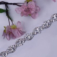 Free Shipping 1 yard Rhinestone Bridal Trimming For Wedding Gown Bridal Sash Rhinestone Applique Rhinestone Chain MALI031-1