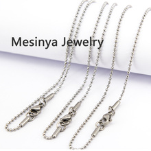 10pcs 1.5mm width 16 24 30'' 316L stainless steel ball chain necklace for glass locket pendant necklace(China)