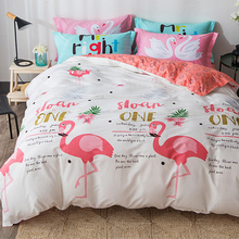 PAPA&MIMA red Flamingo cartoon bedding set sheet pillowcase and duvet cover sets Queen Twin size 100% cotton bed linen set(China)