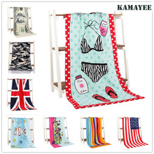 Bath Beach Towel Microfiber Washcloth Swimming Shower Towel USA Flag Drying Toalla Printed Cartoon Bath Towels