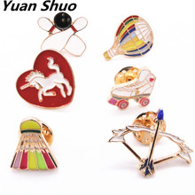 Europe United States foreign trade jewelry wholesale sports style Hot air balloon bow and arrow badminton brooch