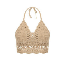 Blusas Sexy Crochet Bikini Top Vintage Boho Bralette Halter Crop Tops Crochet Wave Trim Beach Top Coveups Fashion Women Camisole(China)