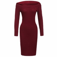 Spring Autumn Winter Off Shoulder Long Sleeve Women Bandage Bodycon Sweater dress Female Clothing Black Red Crochet Clothes 2016