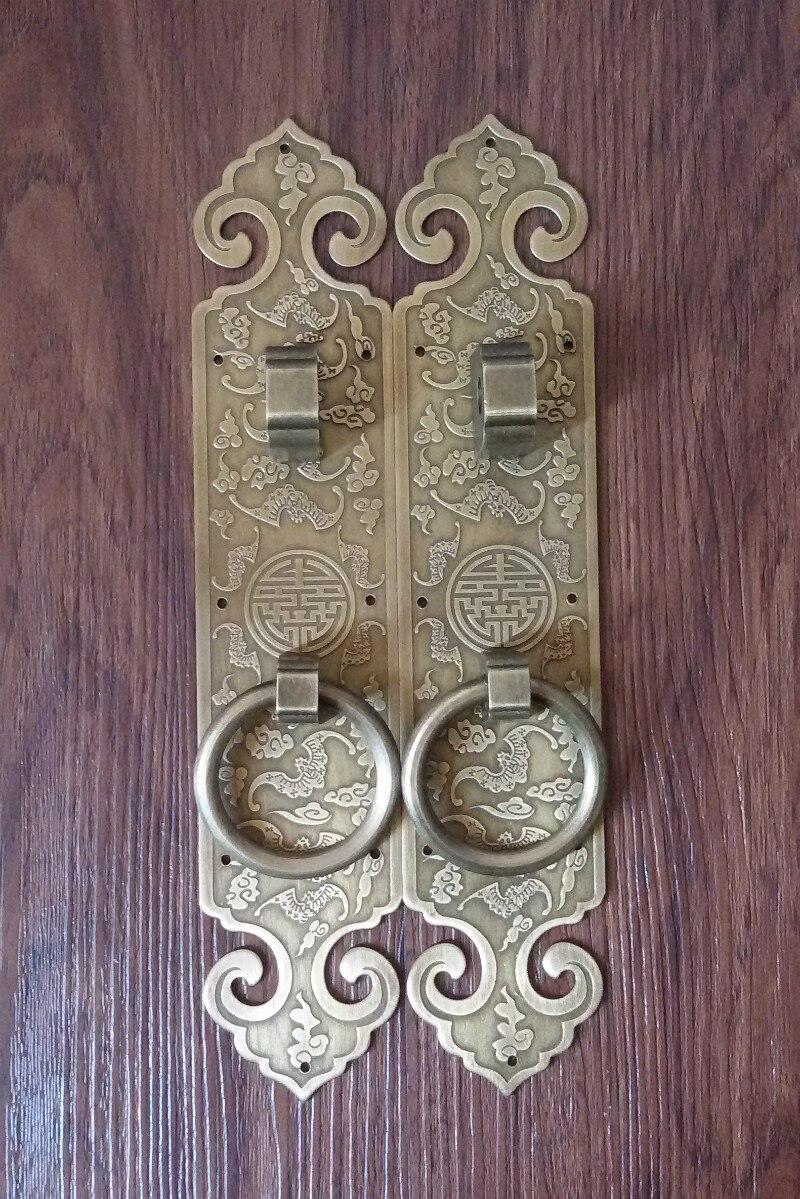 Thickening! Chinese antique copper copper door solid wood door handle door screen door carved tracery classic handle<br><br>Aliexpress