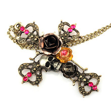 Skull Necklace -PFS- Hot Sale Vintage Women Trinket Trendy Rose Crystal Skeleton Head Cross Skull choker Necklace #1555347(China)