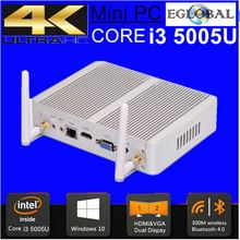 Eglobal Fanless PC 2GB RAM 32GB SSD i5 5005U Micro PC Windows 10 Mini Computer HDMI VGA 4k HTPC Media Server 3-year Warranty