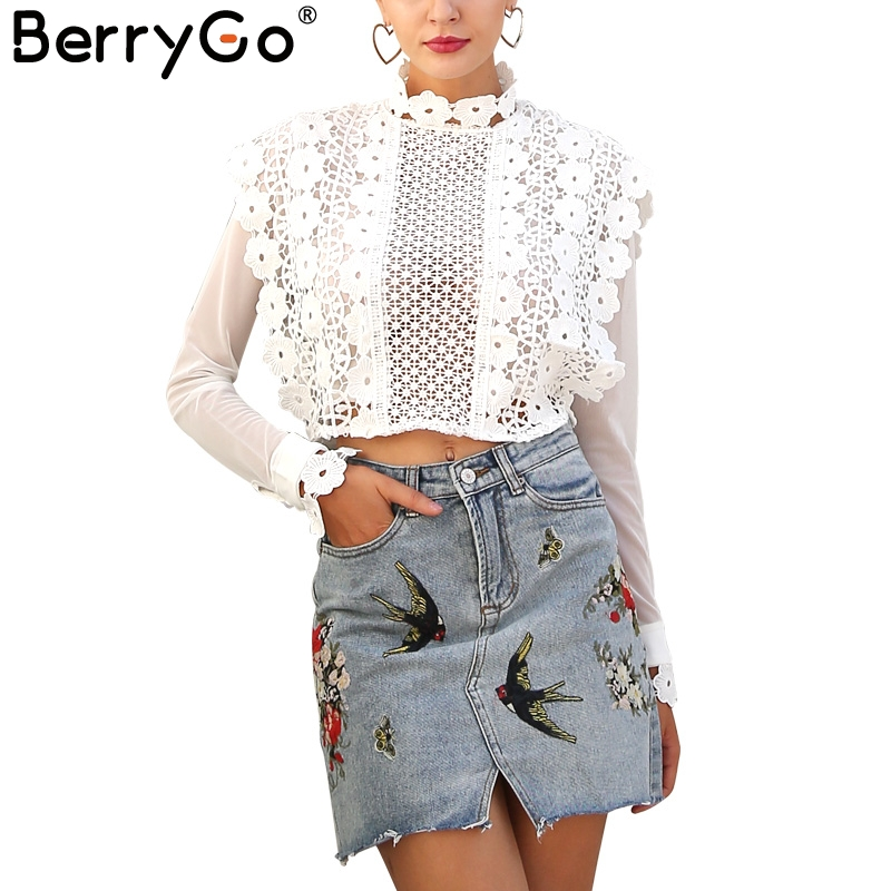 BerryGo Sexy flower white lace blouse shirt Women hollow mesh blouse blusas 2017 autumn chic long sleeve blouse short tops