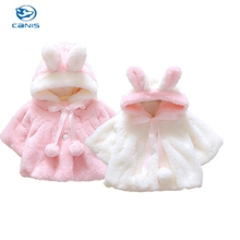 Winter Baby Girls Warm Fleece 3D Rabbit Ear Fur Coats Snowsuits Jackets Snowsuits Outerwear Cloak Clothes 0-4Y Pink&White(China)