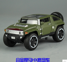 1:32 Hummer HX alloy car model kids toy pull back sound&light SUV jeep ArmyGreen Concept cars boy gift collection 14*6.5*5.5 CM