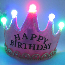 Battery Party Decoration Prince Princess Birthday Hat Luminous Birthday Party Decorations Kids Boy Girls Sets