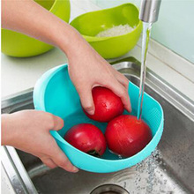 Wash Rice Sieve The Goods for Kitchen Cooking Tools Fruit Basket Plastic Clean Rice Machine Vegetables Basin 16(China)