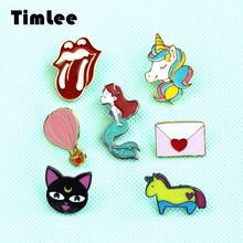 X191 New Cartoon  Cute  Animal Unicorn Hot air Balloon Cat  Envelo Metal Brooch Pins Button Pins Fashion Jewelry Wholesale TLW