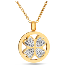 Hot Selling lucky clover Crystal Round Pendant Necklace for woman gold-color necklace(China)