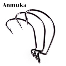 Anmuka 10pc Offset Hook Fishing Hook 4.95*1.65cm 4sizes Crank Worm Sharp Hook Fishhook Strength Anzol De Pesca