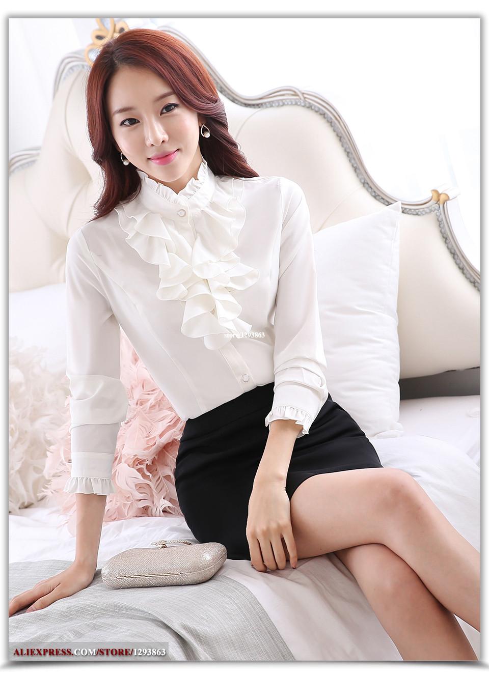 Lenshin biała bluzka moda damska pełna rękaw koszula na co dzień elegancki kołnierz z marszczonym półgolfem biuro topy damskie odzież damska -