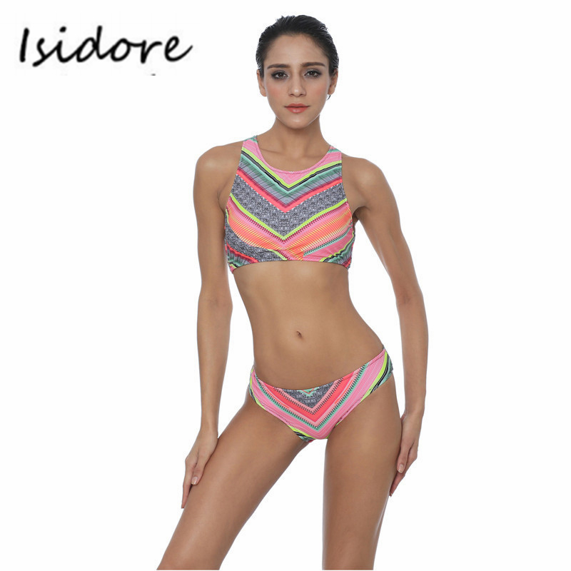 Women High Neck Shirt Bikini Ethnic Summer Print Slim Beach Swimwear Sexy Swimsuit Bathing Suit Pink Color Push Up Bikinis Set<br><br>Aliexpress