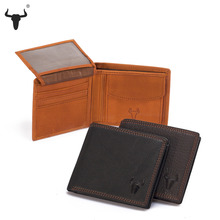 FAMOUSFAMILY Retro Practical Genuine Leather Travel Small Wallet Cowhide Wallets For Men's Men Purses Card Holder Coin Pocket