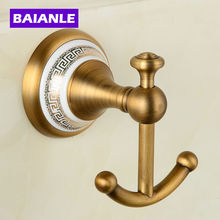Hot selling-Bathroom Accessories European Antique wall Copper ceramic wall Robe Hook ,Clothes Hook,Coat Hook,Bathroom Products(China)
