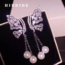 HIBRIDE Brand American Trendy Butterfly Shape Long Tassel Earrings For Women White Gold Color Red Simulated Pearl Earring E-444