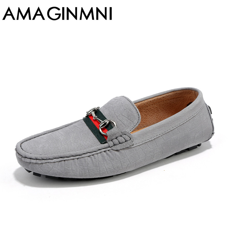 AMAGINMNI Brand New Slip-On casual shoes men loafers spring and autumn mens moccasins shoes genuine leather mens flats shoes<br>