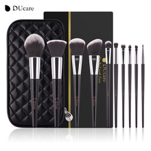 DUcare makeup brushes 10pcs high quality brush set professional brand make up brushes with black bag beauty essential brushes(China)