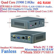 Fanless mini nano itx industrial PC with Intel Celeron Quad Core J1900 4G RAM only(China)
