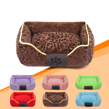 Printed Detachable Dog Bed Warming Pet House Soft PP Cotton Pets Nest Fall and Winter Puppy Cat Kennel For Small Dogs(China)