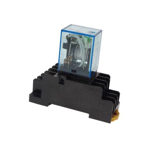 10pcs 12/24VDC 5A Coil Power Relay JQX-13F MY3NJ HH53PL 11Pins 3PDT Socket Base<br>