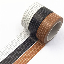 10M Black and White Grid Washi Tape Japanese Paper DIY Planner Masking Tape Adhesive Tapes Stickers Decorative Stationery Tapes(China)