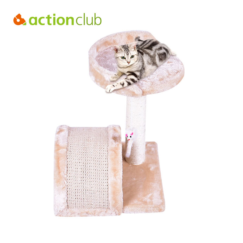 Actionclub USA Delivery Cat Scratching Wood Climbing Tree Cat Jumping Toy Climbing Frame Pet Double Layers Furniture BHP1050(China)