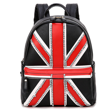 SnowJenny Borsa British Flag Handicraft Art The Union Jack Punk Style Schoolbag Women Backpack Travel Bag Totes Bag