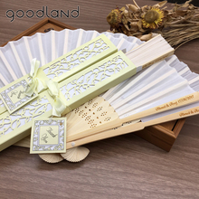 Wholesale DHL Free Shipping 100pcs Personalized Spun Silk wedding hand fans Printing with Laser-Cut Gift Box Wedding Favors