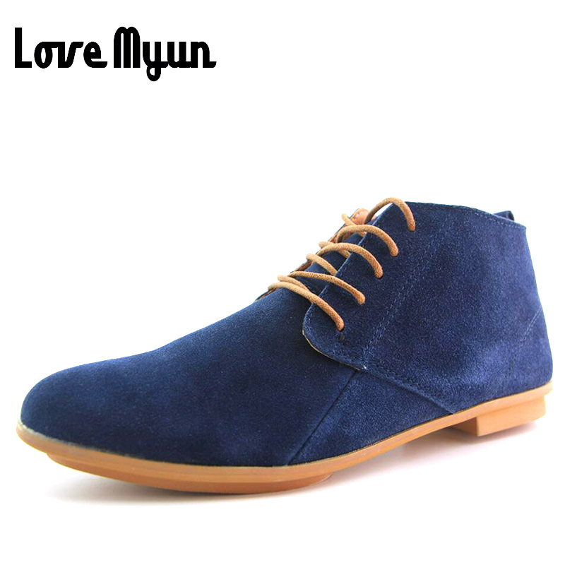 Brand new men fashion suede leather sneaker shoes Breathable Martin ankle shoes Mens Casual Genuine Leather lace up Shoes AA-LH<br>