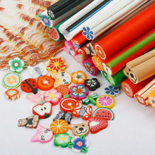 50Pcs/Set Nail Art Fruit Flower Butterfly Heart Feather Animal Fimo Canes Stick Rods Polymer Clay Stickers Tips Deco Beauty