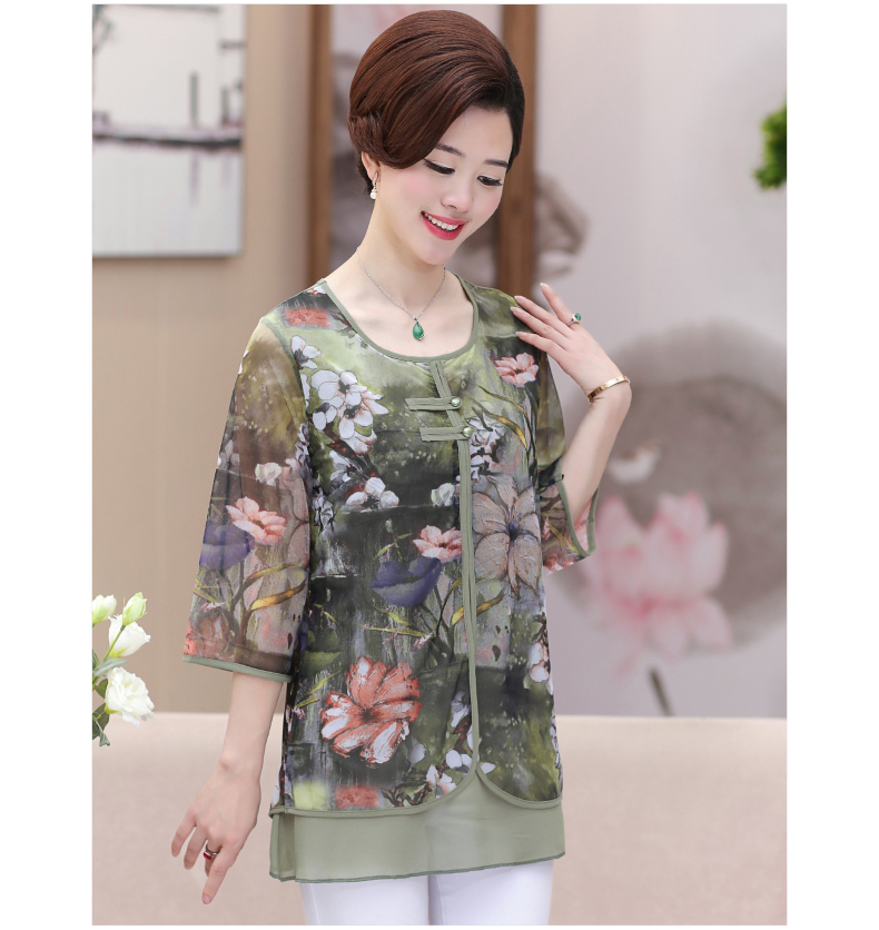 WAEOLSA Chinese Style Woman Ethnical Chiffon Blouses Gray Blue Red Green Flower Layered Tops Women Oriental Boon Design Blouse Lady Crepe Tunic (9)