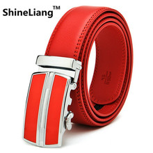 Men's Automatic buckle belt Designers Leather Independent personality style Red yellow High quality alloy buckle width 3.5cm