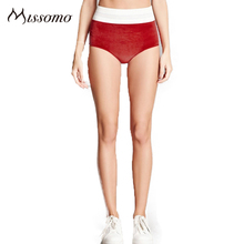 Missomo Red Blue Panty Women Patchwork High Rise Elastic Soft Briefs Female Sexy Casual Fashion Underwears Lady(China)
