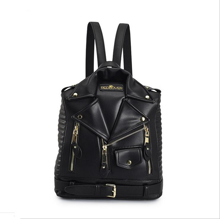 RUILANG 2018 Womens Designer Luxury Brand Backpack PU Leather Teenage Girl School Bag Female Fashion Casual Motocycle Bagpack <br>