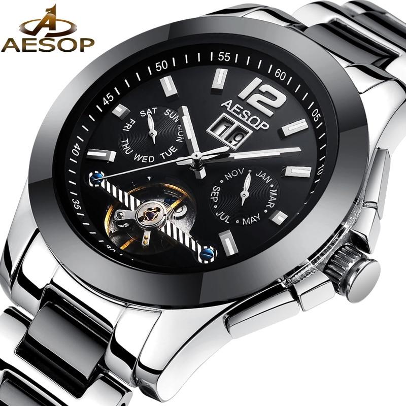 AESOP Fashion Men Watch Automatic Mechanical Men Wrist Wristwatch Ceramic Hollow Male Clock Relogio Masculino Famous Brand 60<br>