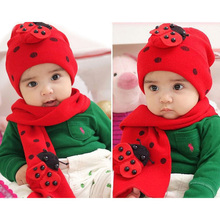 Cute Baby Winter accessories cotton knitted hat+scarf sets baby Boy Girls unisex Ladybug animals warm