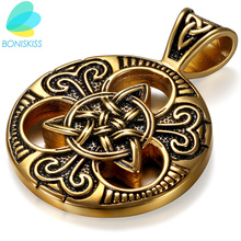 Boniskiss 2017 Fashion Retro Gold Stainless Steel Necklace Women Jewelry Ethnic Celtic Knot Men's Pendants Necklaces(China)